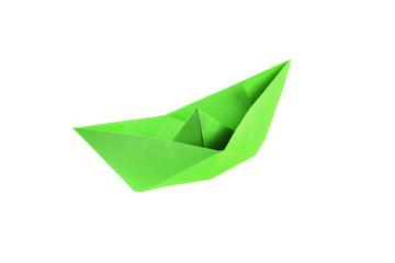 Green origami boat