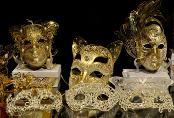 Golden venetian masks