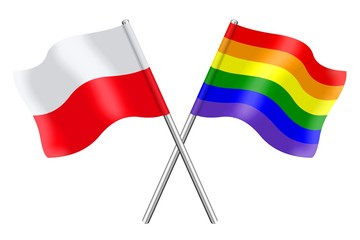Flags : Poland and rainbow