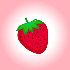 Illustration of ripe red strawberry