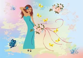 dziewczyna z kwiatmi,