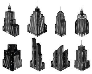 Skyscrapers in perspective (black&white)