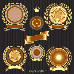 shields, laurel wreaths and ribbons