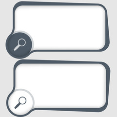 set of two vector text frames and magnifier