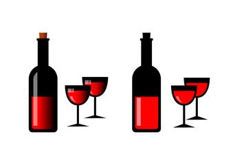Wine bottles on white background