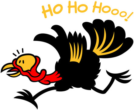 Christmas turkey escaping from Santa laughing