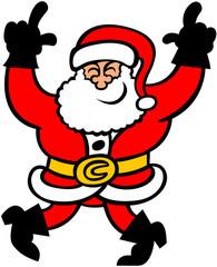 Santa Claus smiling and dancing