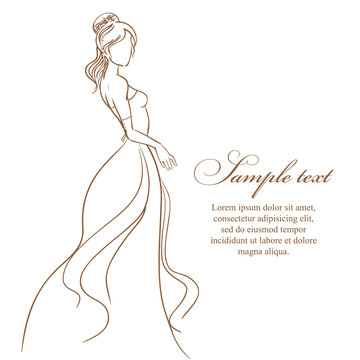 Wedding card with beautiful bride in white dress. vector