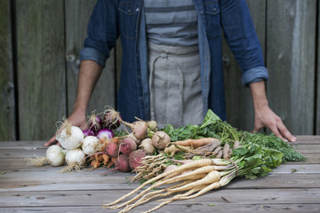 A man sorting freshly picked vegetables on a table.
