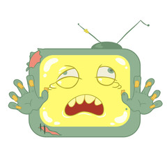 Zombie television vector on white background