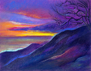 landscape in lilac tones