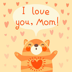 Greeting card for mom with cute kitten.