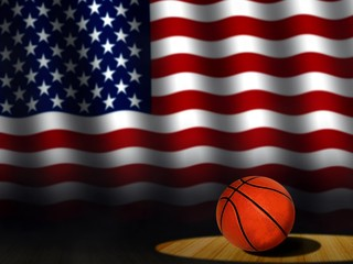 Basketball on Court with American Flag