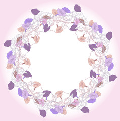 Wreath with blue violet bindweed. Vector illustration