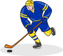 Ice Hockey Player Side With Stick Cartoon