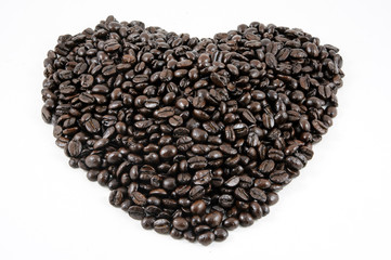 Coffee  beans on white-gray background