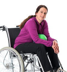 woman in wheelchair with ball
