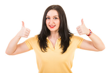 Happy woman giving thumbs