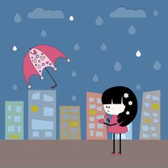 Иллюстрация с девочкой и зонтом