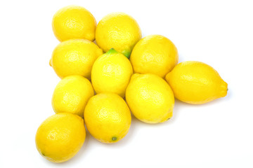 Billiards pyramid maked from yellow lemons