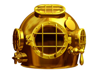 diving helmet in gold