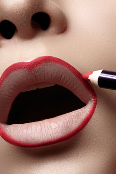 Professional make-up artist applying lips liner for perfect make-up contour