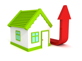 house with red growing arrow, real estate price rising concept