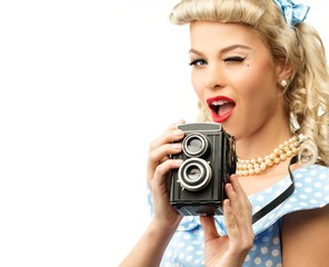 Blond coquette pin up style young woman