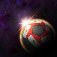 Flag on 3d football with rising sun illustration