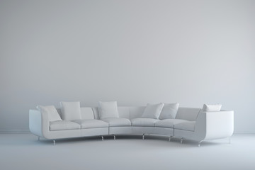 Interior mit Sitzgruppe in weiß
