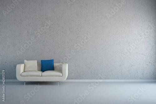 Zimmer Mit Sofa Und Wand Aus Beton