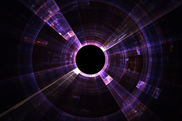 Abstract fractal background with empty black circle