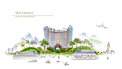 City collection. Beach Hotel, travel holidays concept