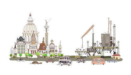City collection, City, and factory, environmental concept