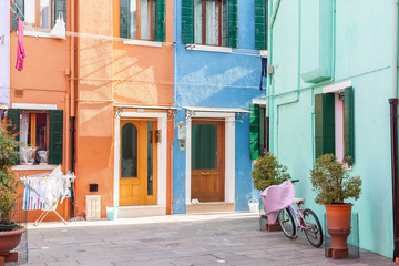 Colorful street in Burano, Venice