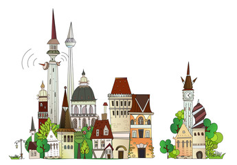 Foto auf AluDibond Konigtum Town illustration, city collection