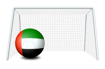 A soccer ball with the United Arab Emirates flag