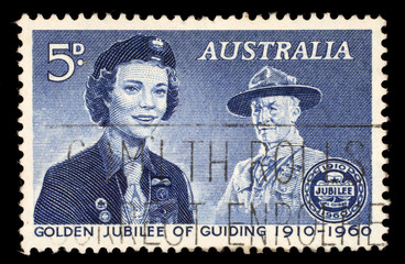 Australia stamp shows Girl Guide and Lord Baden-Powell