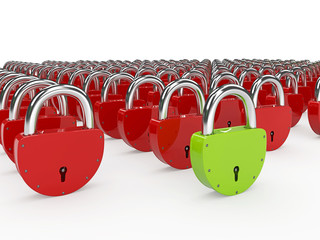 Green and red padlocks