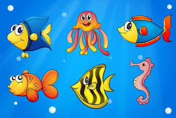 A sea with colorful creatures