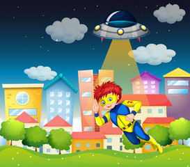 A superhero and a saucer near the buildings