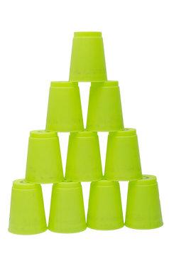 green stacks plastic  cups