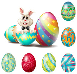 A happy bunny with colorful eggs