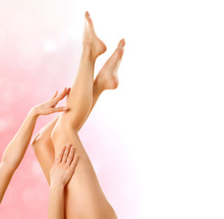 Healthy Legs. Spa. Legs and Hands isolated on white