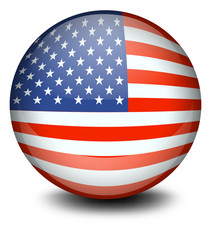 A soccer ball with the flag of the USA