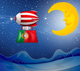 A floating balloon with the flag of Portugal