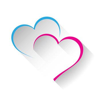 Vector logo two hearts
