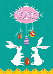 Cute Easter card with two white Easter bunnies.
