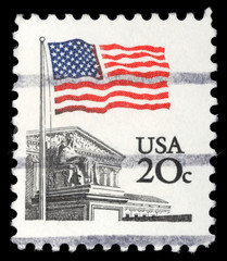 Stamp printed in the USA shows Flag Over Supreme Court Issue