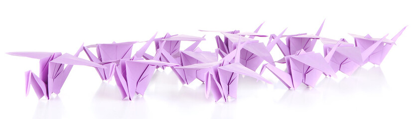 Origami cranes, isolated on white